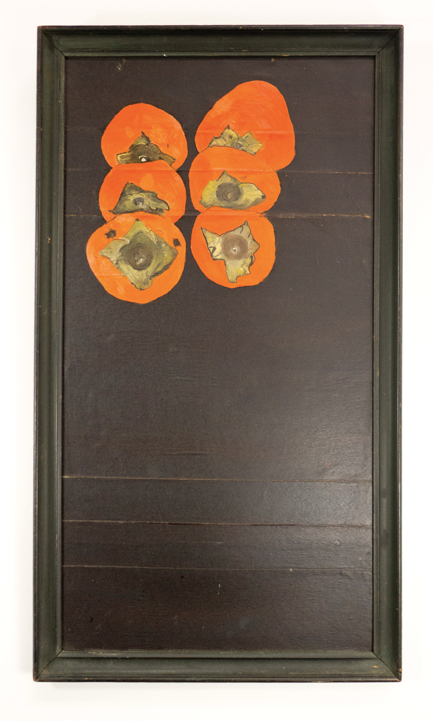 "Persimmons; 1950s; Ink and oil on board; 18 7/8 x 10 3/8""; Item #026"