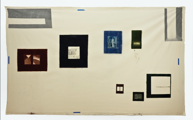 Item #165; The Museum Family; Photocopy Imprint, Oil, Resin on Canvas; 140 x 86""