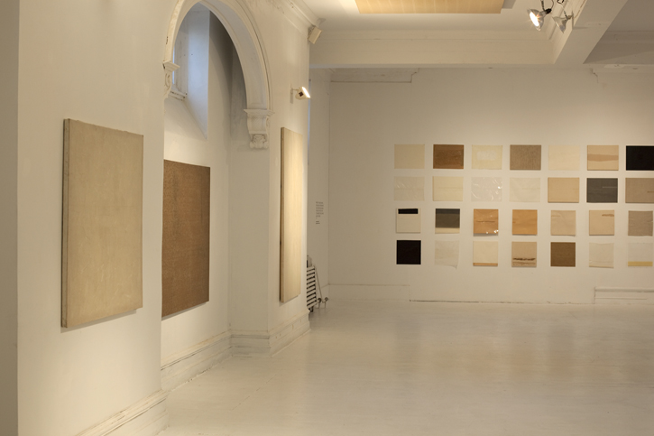 Clocktower Gallery installation, 2013, Primer Sets on right, Wet Grounds (1971) on left