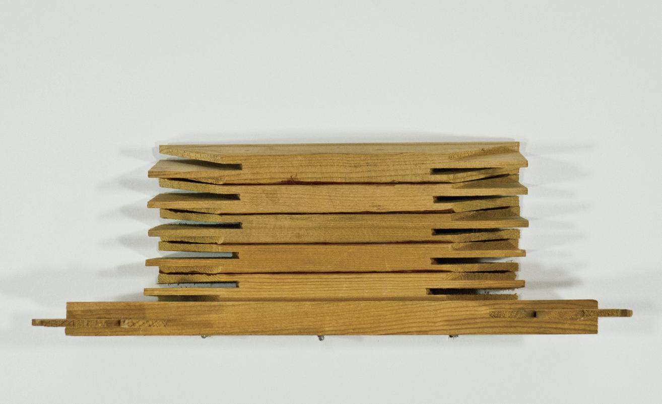"""B'architecture; glue, stretcher bars; 11 ½ x 3 ¼ x 3 1/8"""""""
