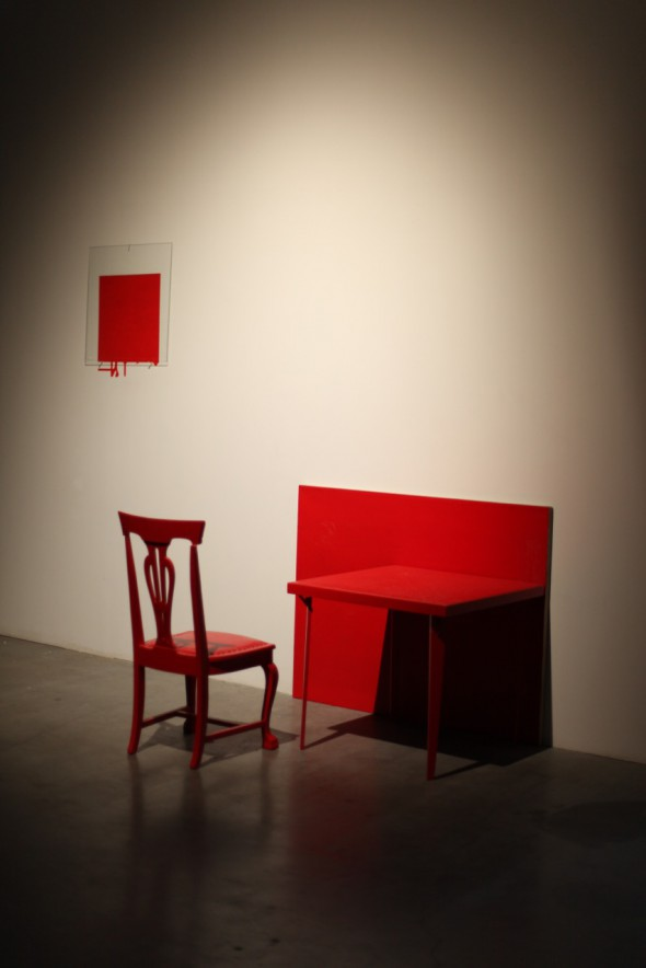 Pure Cadmium Red, Medium – Bath; table, chair, oil on canvas, oil painting on wall with resin on glass overlay; dimensions variable