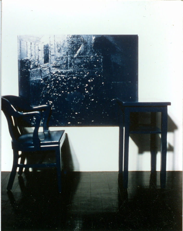 Cobalt Blue, Hue Deep - Stable; table, chair, oil on canvas, oil painting on wall with resin on glass overlay; dimensions variable (original installation photograph)