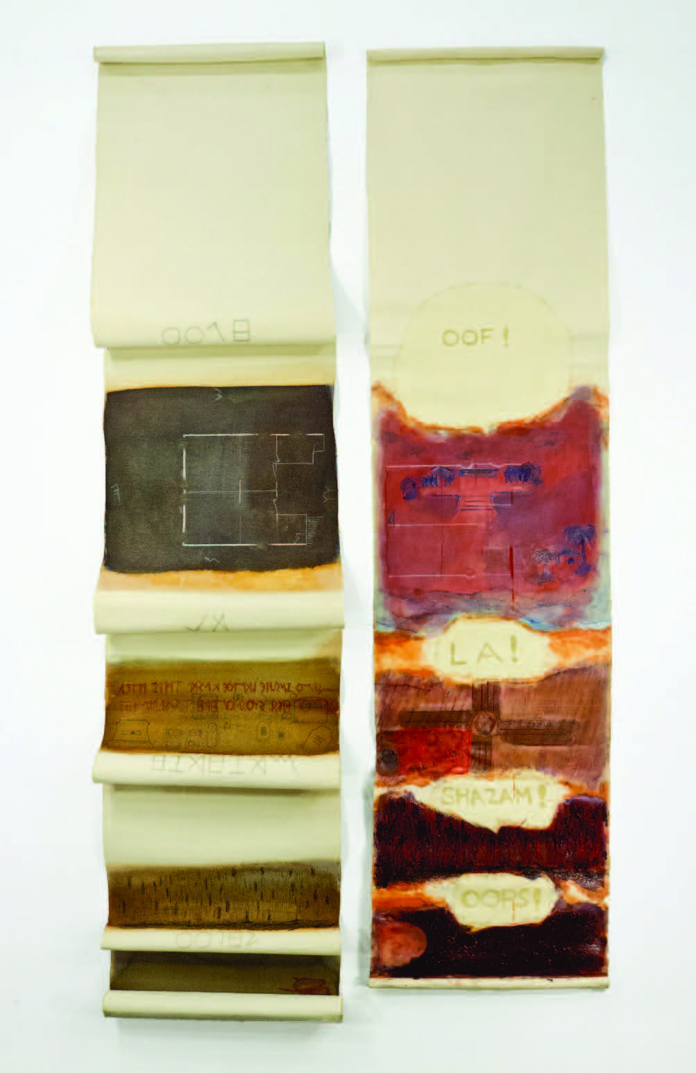 """Scrolls 3 & 4; Gesso and oil or acrylic on canvas, 83x20"""" and 80x20"""""""
