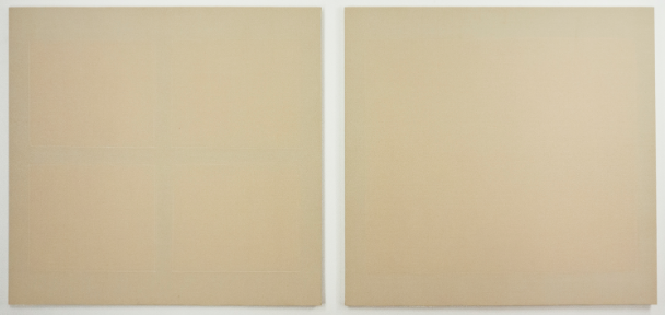 The Scape; rabbit skin glue and emulsions on raw linen; two paintings, each 48 x 46""