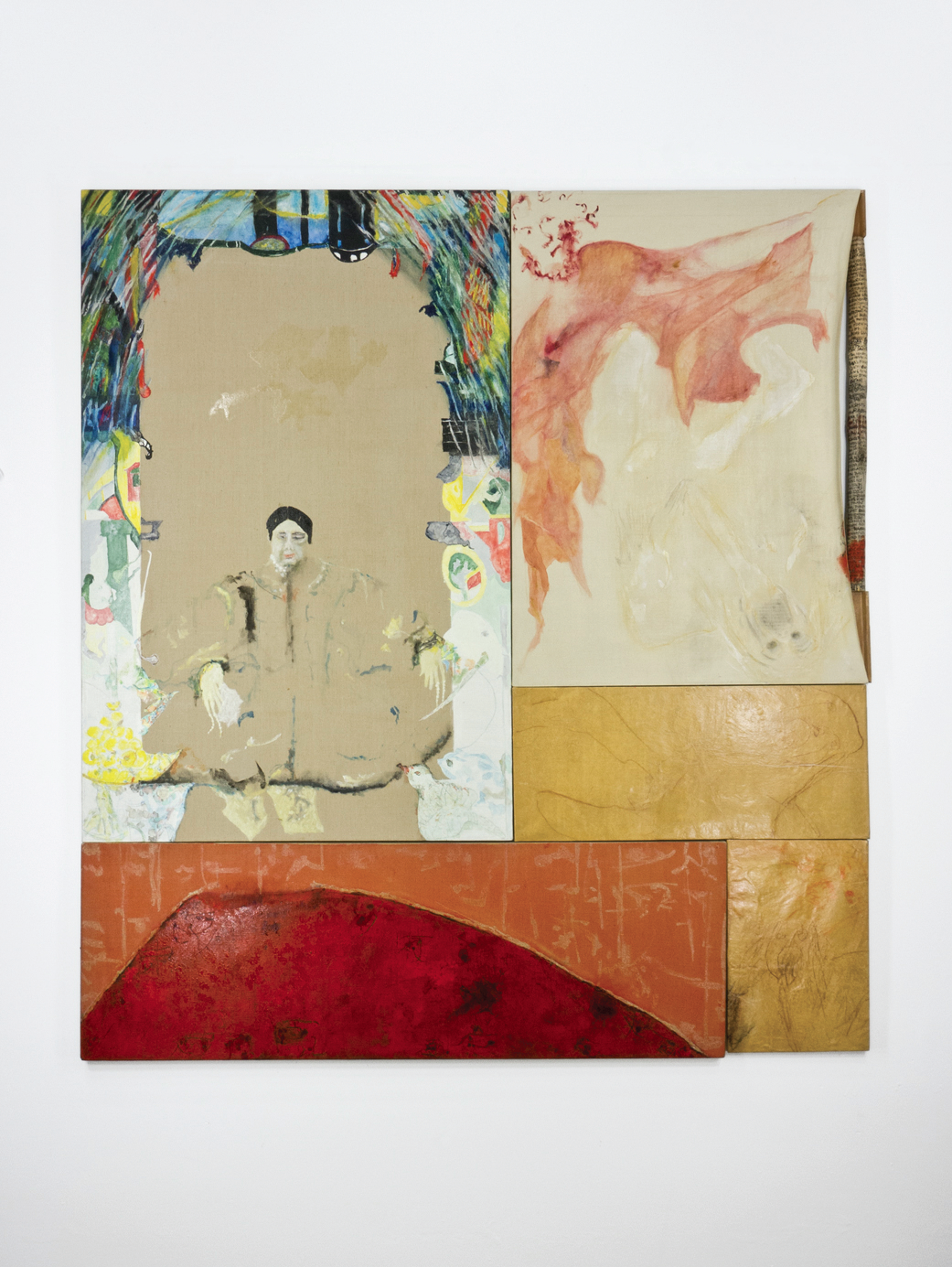 """The Boxer Rebellion; oil, acrylic, resin/glaze, ink, wooden pole, conté crayon on canvas and paper; 63 ½"""" x 73 ½"""""""