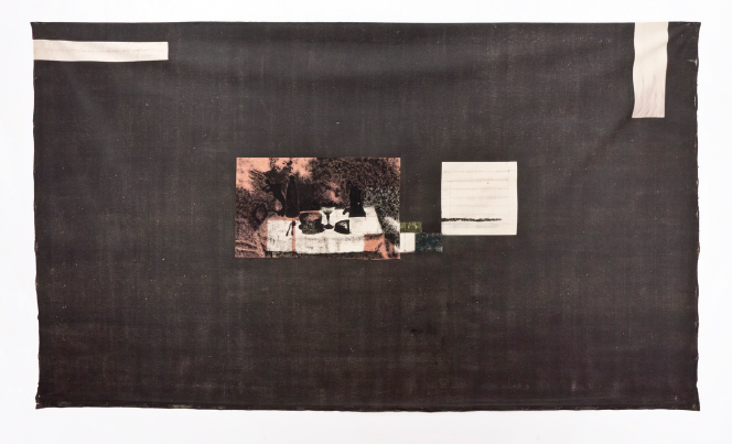Item #166: The Family Museum in Niepces' Repast; Dry pigment sanded canvas with Oil and printed image, 134 1⁄2 x 78 1⁄2""