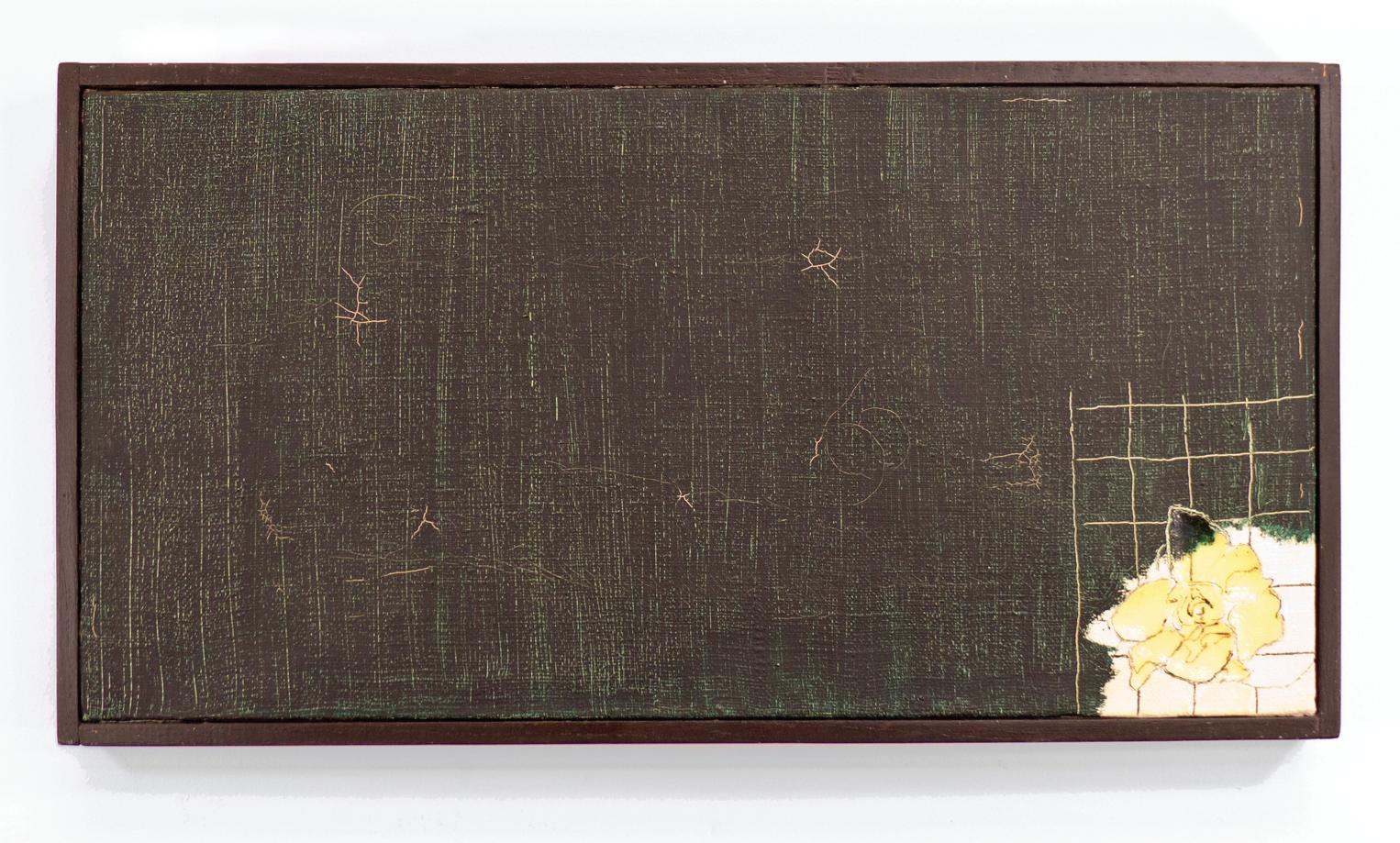 "Climbing Gardenia; 1965; Oil, Magna, Ink, Glue on canvas or Hessian; 20 1⁄2 x 10 5/8"" Framed; Item #029"