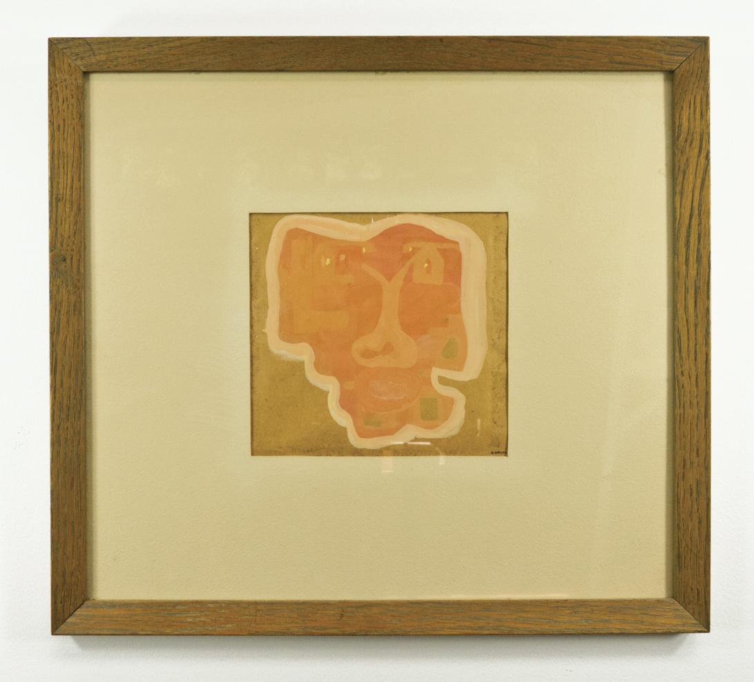 "Mask; 1950s; Acrylic or watercolor on paper; 6 1/8 x 5 3⁄4"" mounted in 15 3⁄4 x 14 1/8"" Frame; Item #028"