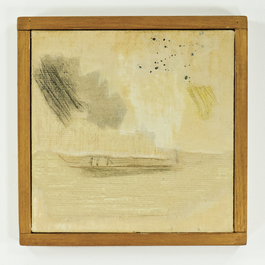 "Lilybones and Rain; 1959; Oil on canvas; 8 7/8 x 8 7/8""; Item #036"