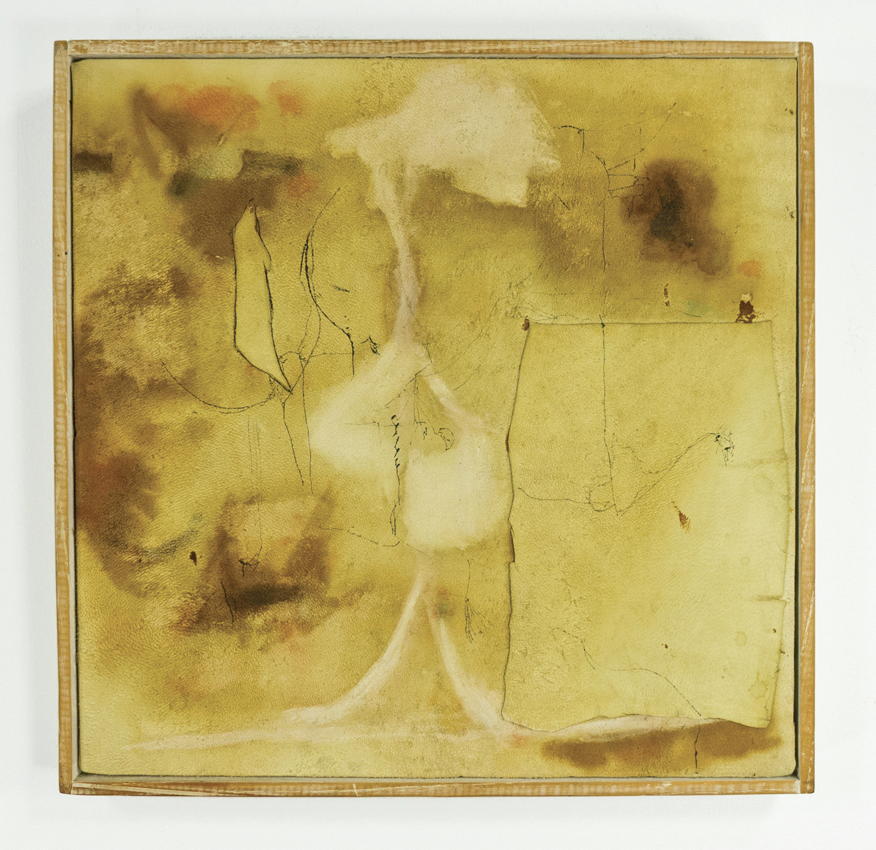 "Pure Evil; 1958; Ink, wash, watercolor or casein and glue on chamois; 12 1⁄4 x 12 1⁄4""; Item #045"
