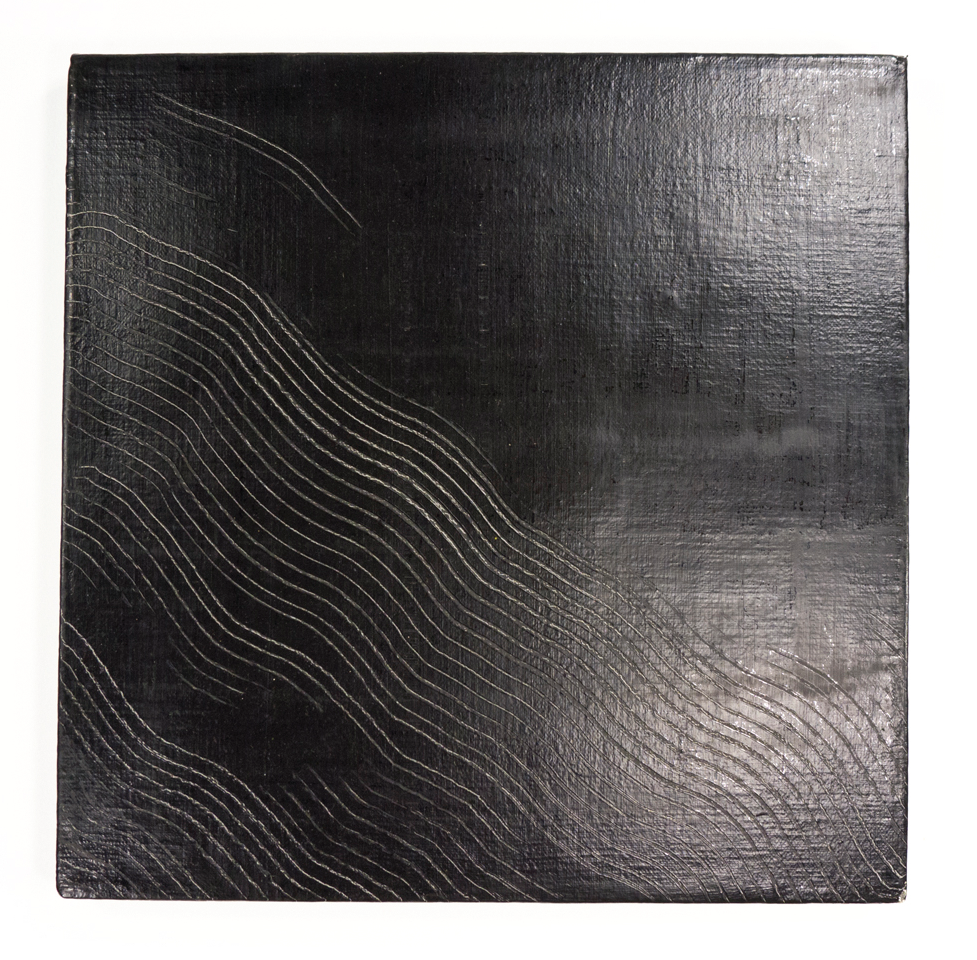 "Untitled, Midnight and Incised, Combed Waves; 1950s; Oil on canvas; 12 5/8 x 12 5/8""; Item #046"