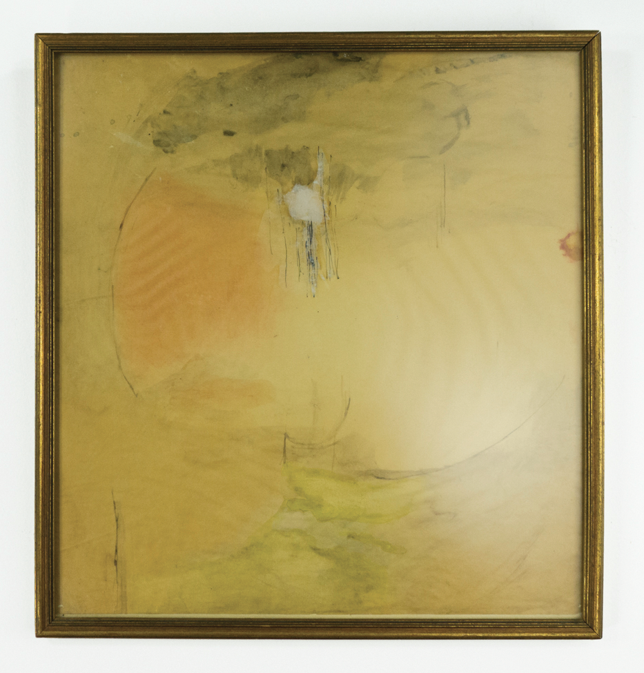 "Quadrature, Early Morning; 1959; Ink & watercolor on paper; 11 3⁄4 x 12 1⁄2"" framed under low-reflective glass; Item #050"