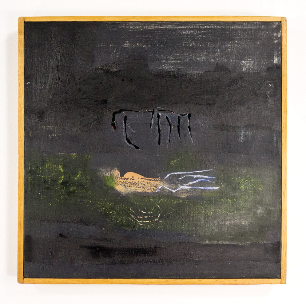 "Dark Swimmer, Two dates on back: Oct. 59 and Apr. 61; Oil, Casein resin and conte crayon on canvas; 111⁄4 x 111⁄4""; Item #051"