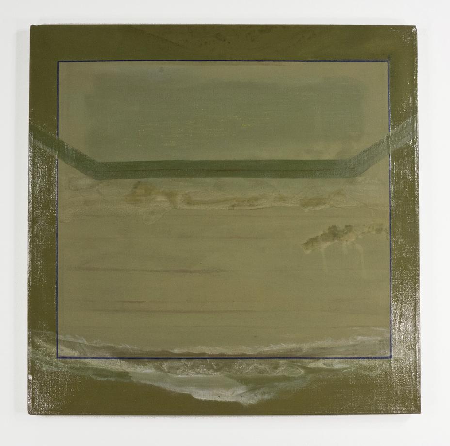 "Ocean Photograph; 1964; Oil and glaze on canvas; 22x22""; Item #055"