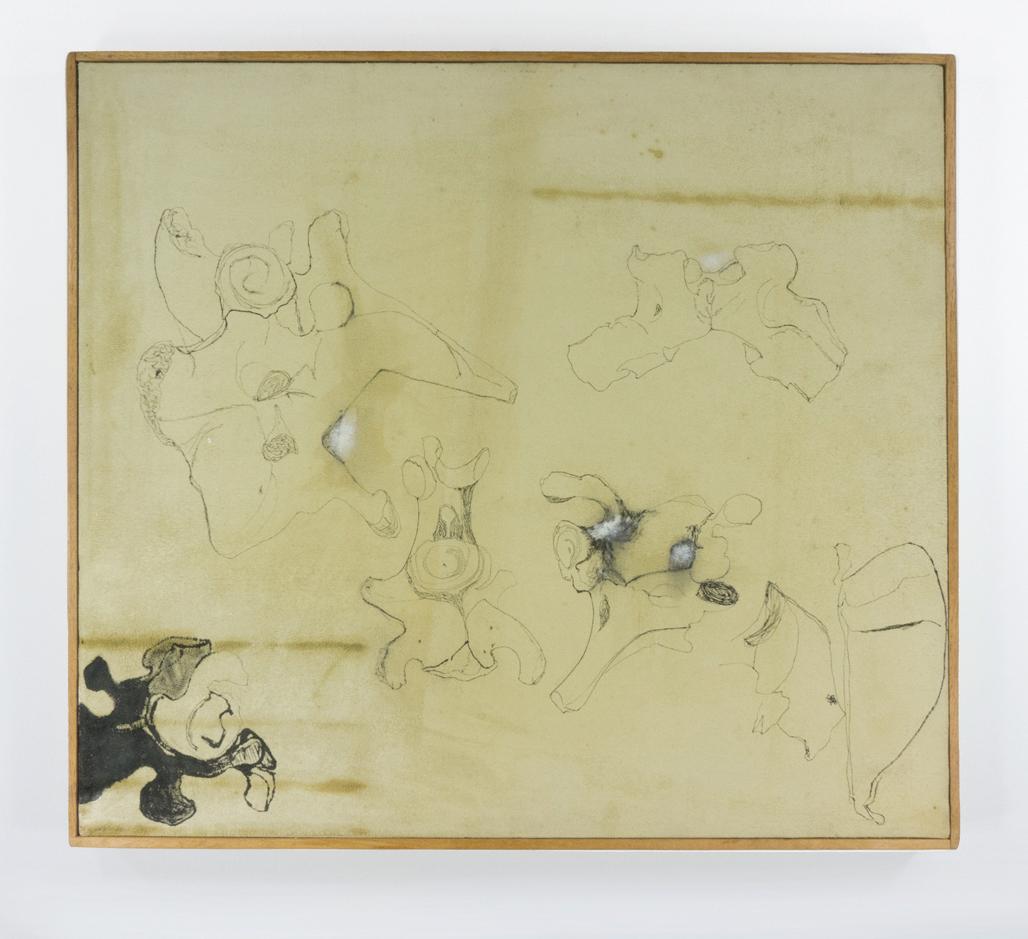 "Bones; Ink on Chamois leather; 20 1/8 x 18 1/8""; Item #058"