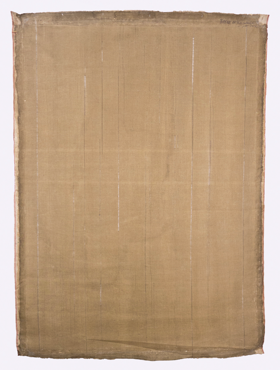 "Threads of Two Women; 1950s; Stained, de-threaded thin cotton duck; 47x67""; Item #001"