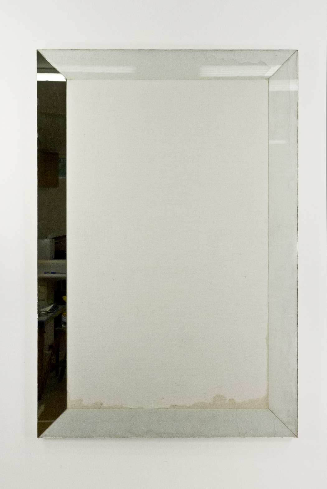 "Self Portrait; Primed linen with resin, glass and mirror; 57 3⁄4 x 38 1⁄4""; Item #097"