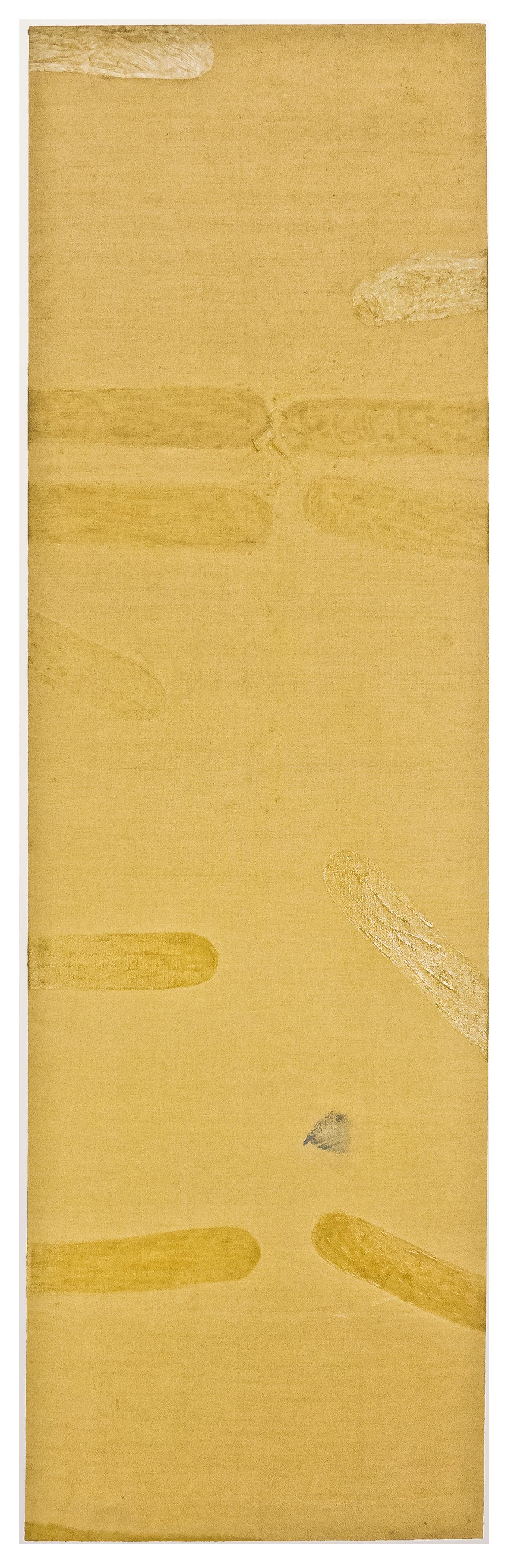 """Kuta, Cuba, AM, Resin/emulsion on unpainted linen. 103 x 31"""""""