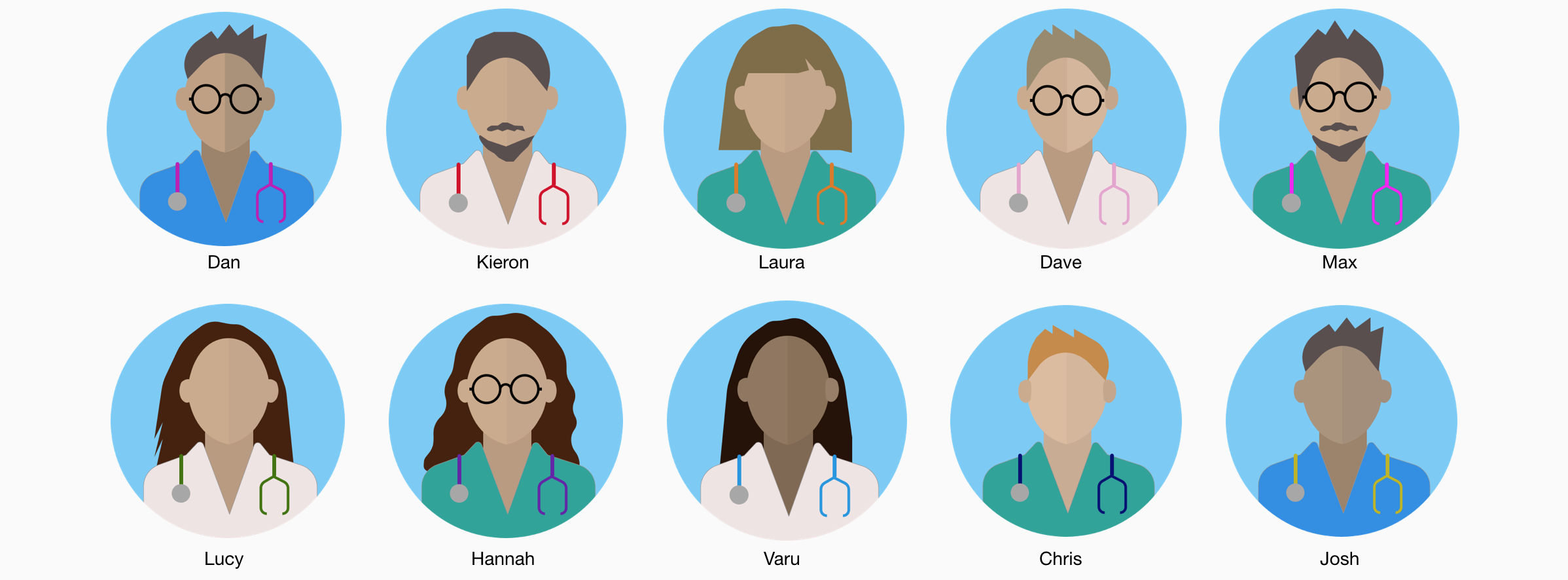 Illustration of the ten junior doctors that participated in user interviews and usability testing