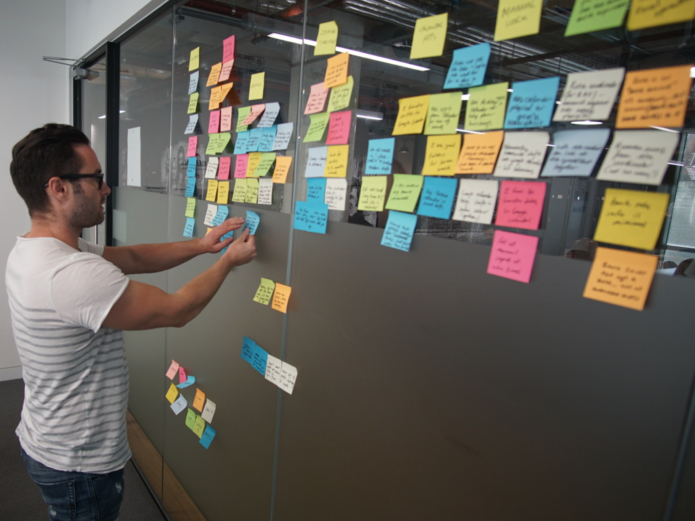 Affinity mapping - We used affinity mapping to explore patterns that arose from the interviews. From the affinity map we created a UX persona and an experience map that further guided the process. Let's start with the persona.