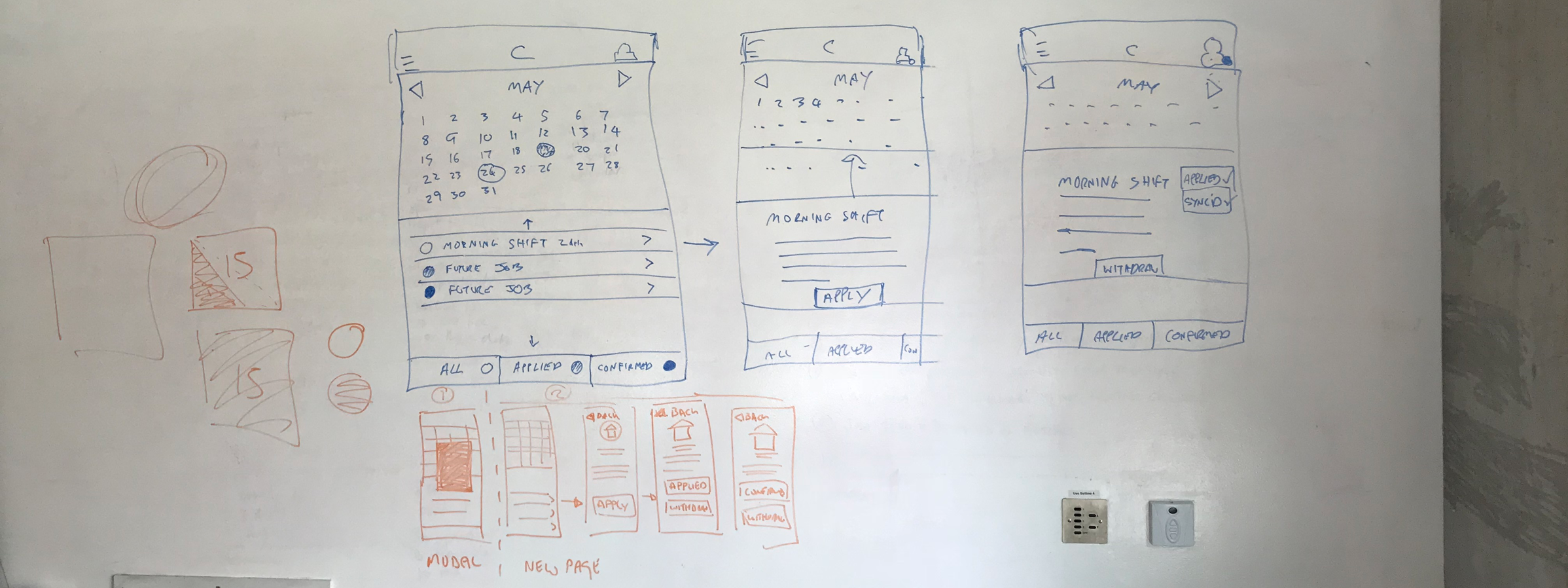 Three interface concepts for an iOS app drawn on a whiteboard