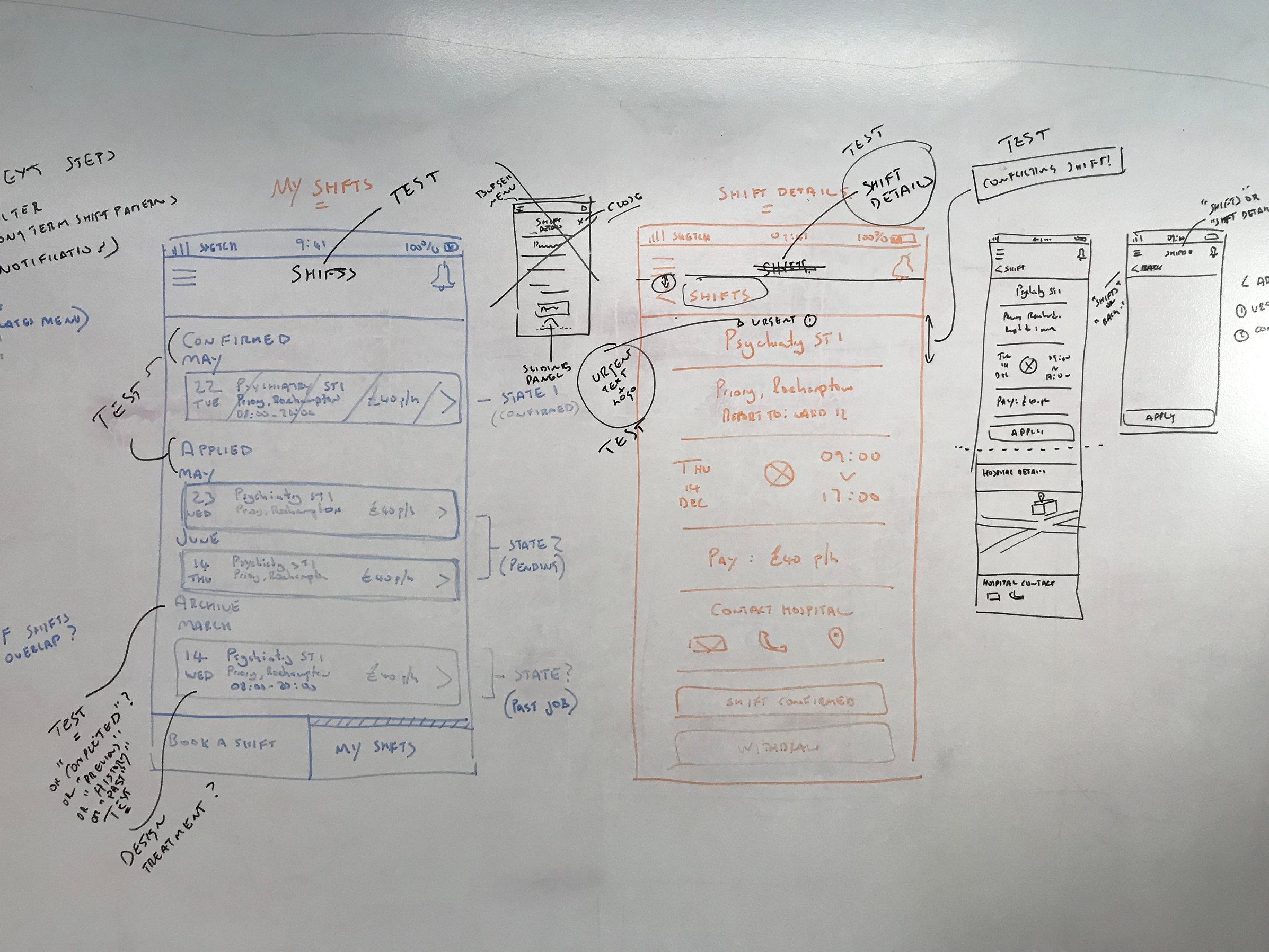 Iterating - Even at mid fidelity it was fastest to work on the whiteboard, sketching out the screens and collating the test results. This way we could prioritise which changes we would take into the next round of prototyping.