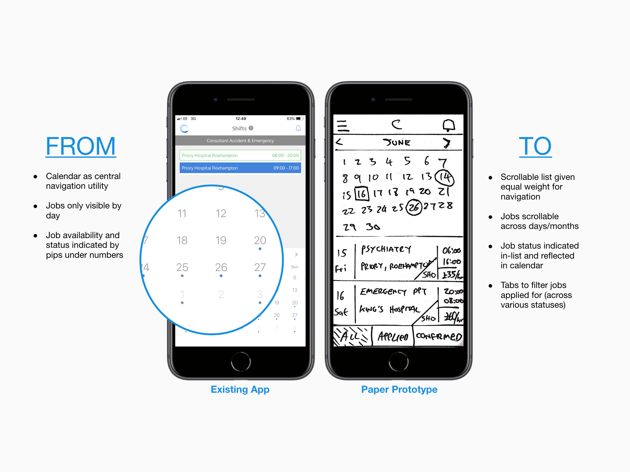 Existing app screen next to a paper prototype screen for the concept Circular Wave iOS app