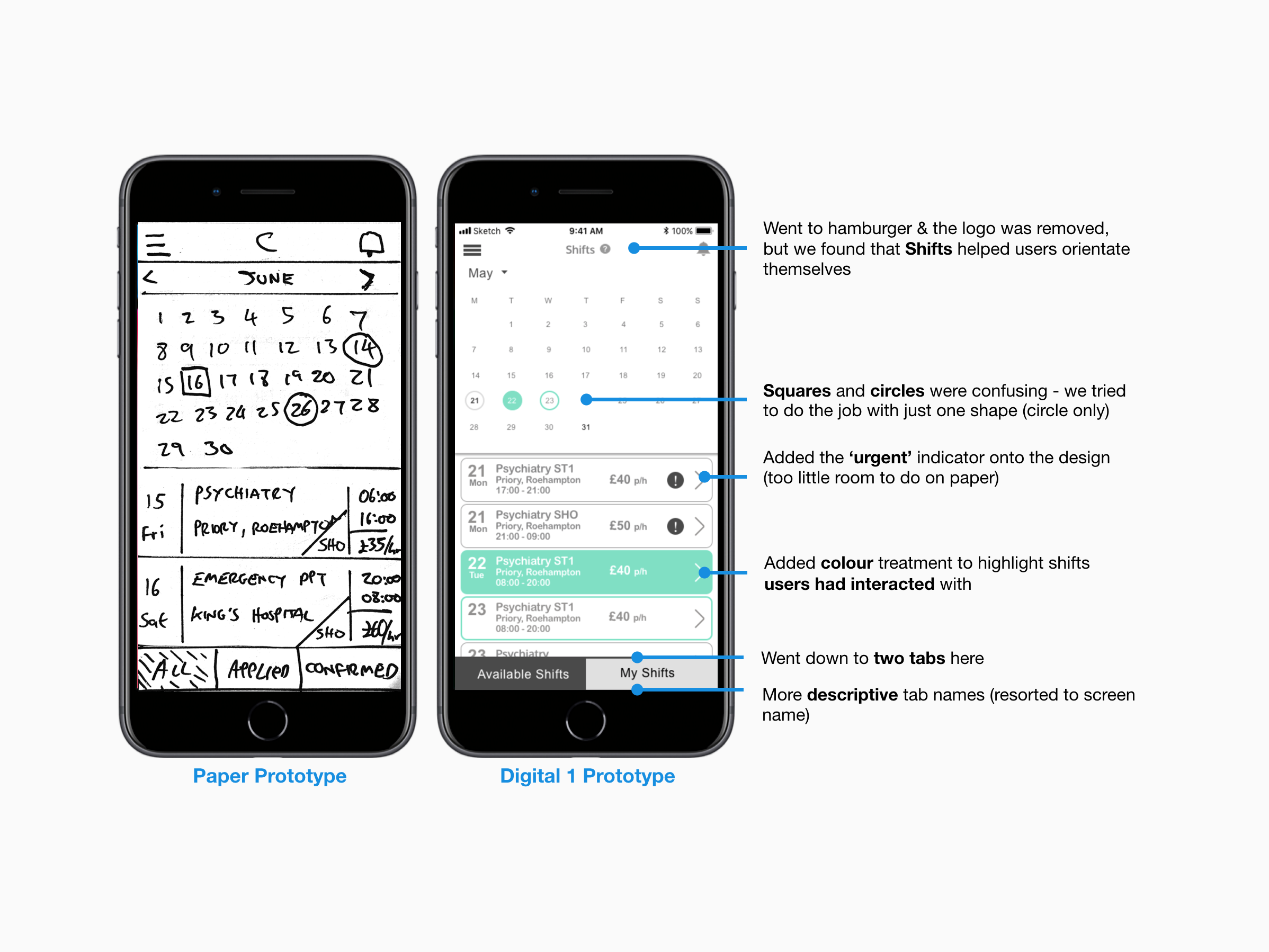 Paper prototype screen next to the digital prototype highlighting iterations based on usability testing