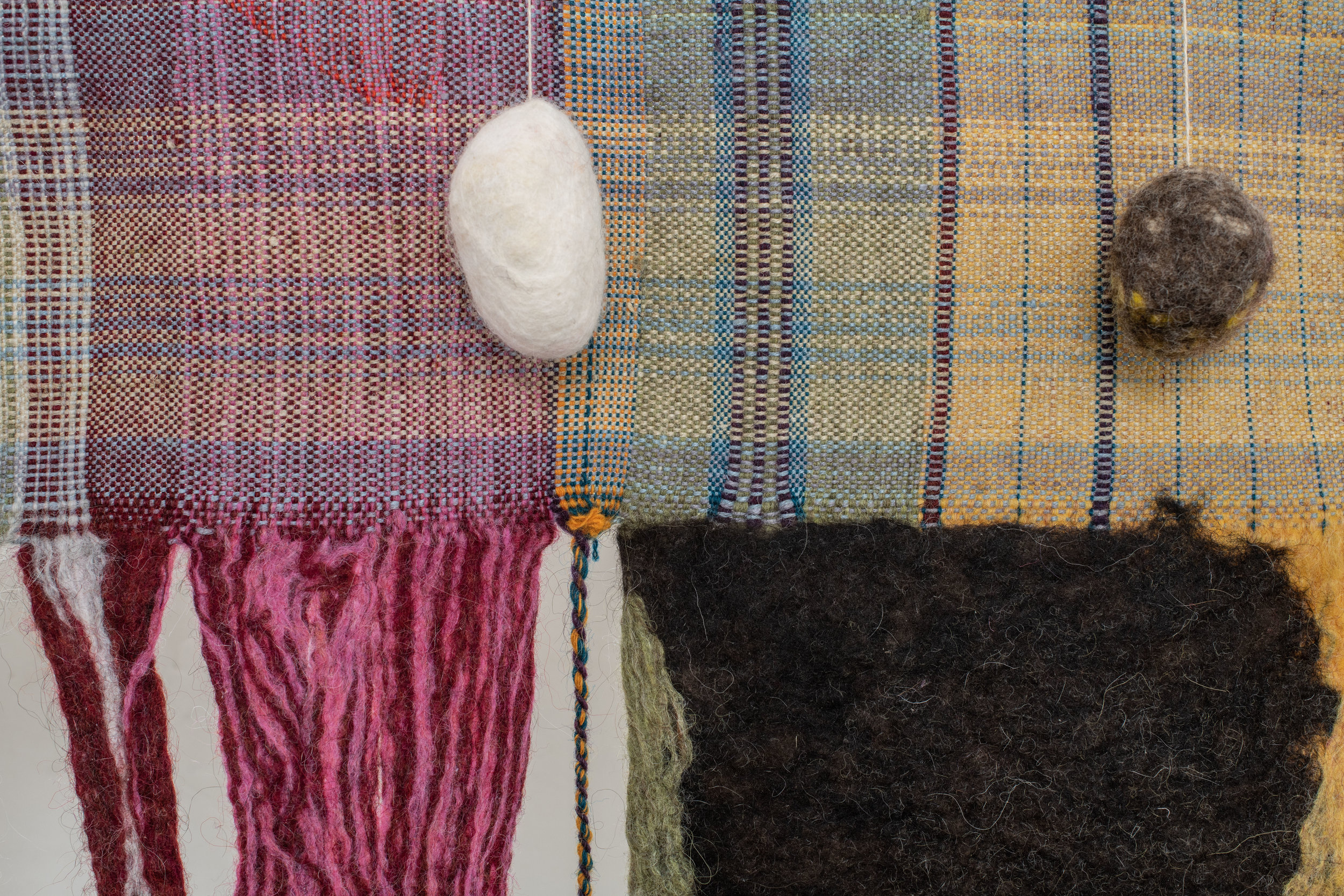Vagrancies Rules   Mixed Media, hand felted wool, rocks, aluminum
