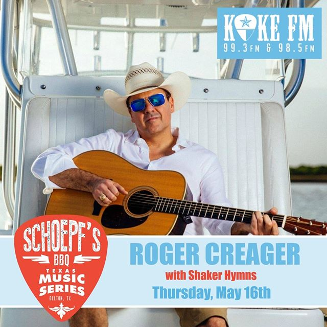 @schoepfs_bbq Texas Music Series continues this Thursday, May 16th with music by @rogercreager and @shakerhymnsband. Gates open at 6 pm and music starts at 7 pm. 🎸🎶🎧