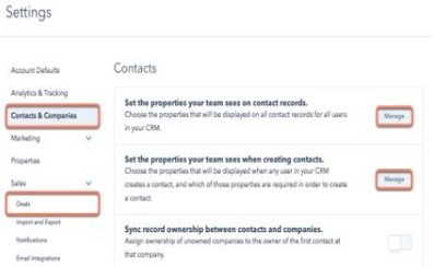 Figure 5:    What you should see when you go to configure your CRM settings. You navigate to your settings and click contacts and companies or deals in order to manage and edit the settings