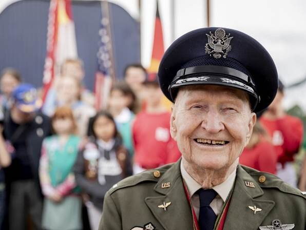 """Col. Gail S. Halvorsen, U.S.A.F. (Ret.) (known as """"The Candy Bomber""""), was a pilot during the Berlin Airlift, which transported supplies into the Soviet communist-blockaded city of West Berlin."""
