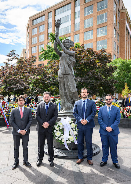 From left to right: Representatives from the interim Embassy of Venezuela, Gabriel Lugo, Gustavo Marcano, Francisco Marquez, and Brian Fincheltub.