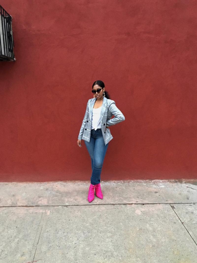 Blazer: BooHoo, Jeans:  Gypsy Jule , Boots: Top Shop, Earrings:  Granny Vintage Shop