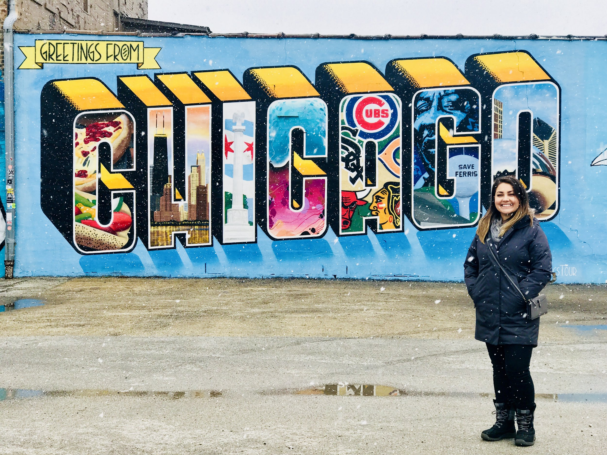 Greetings from Chicago Mural - Location: 2226 N Milwaukee Ave, Chicago, IL