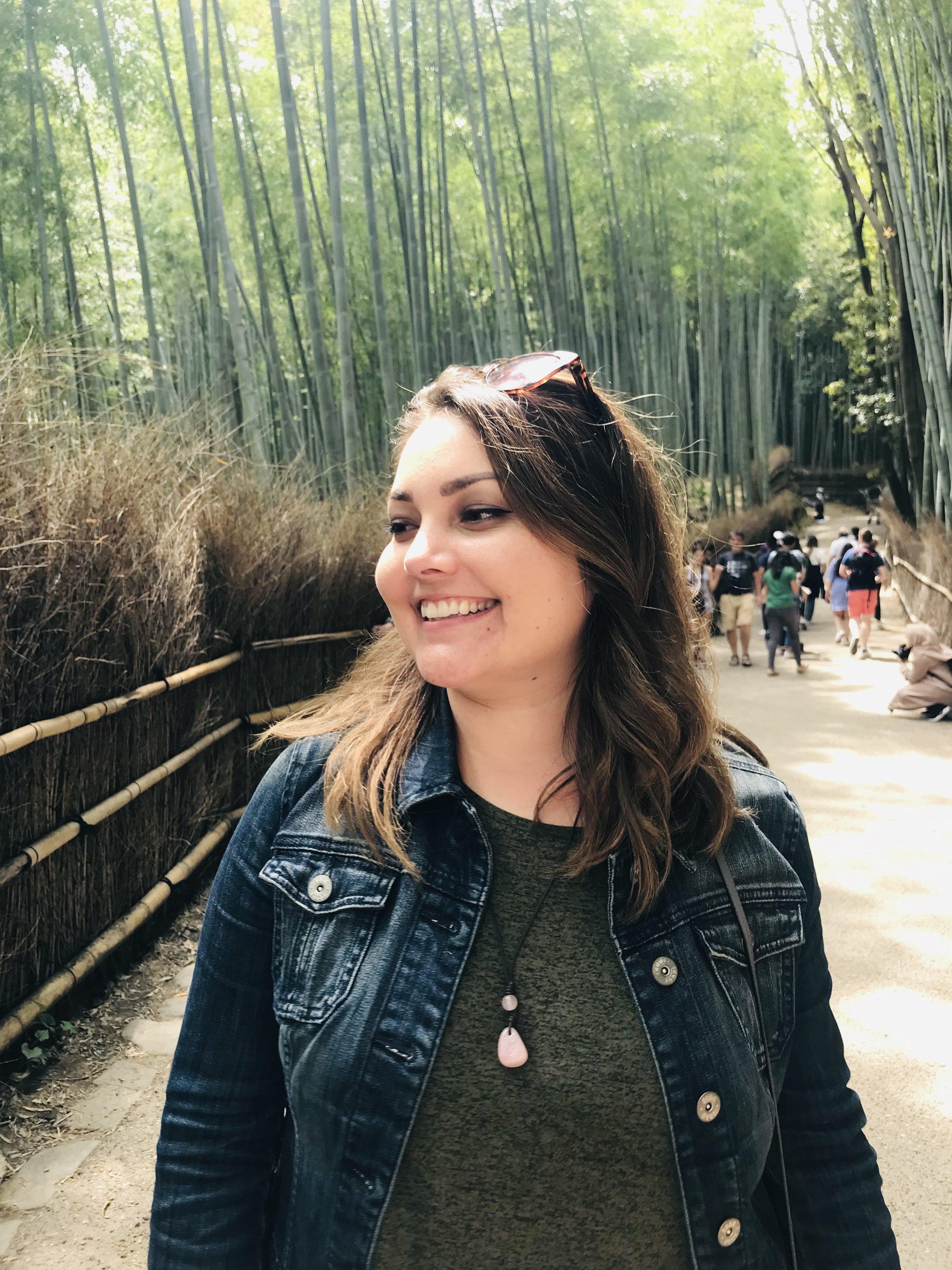Feeling joyful at the Arashiyama Bamboo Grove
