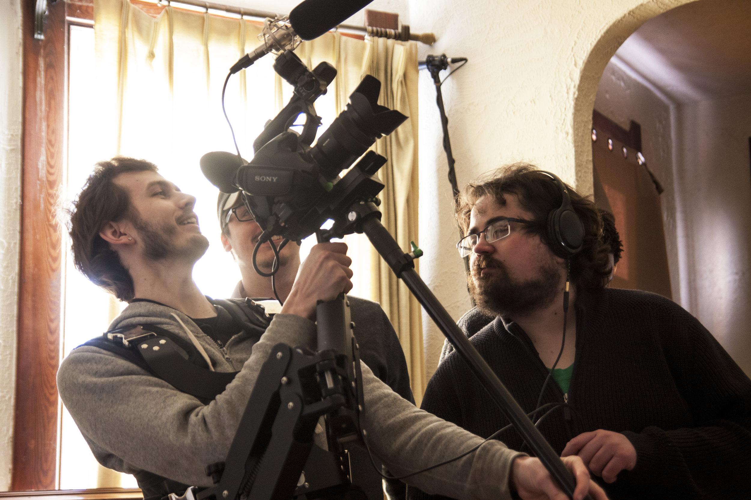 (Left to right) Ty Higgs, R.J. Maurer, Radomir Jordanovich prepping for a scene.