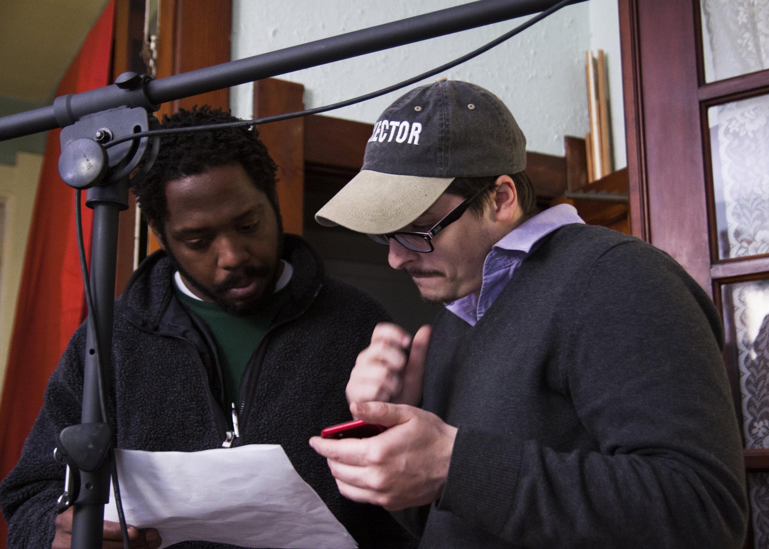 (Left to right) Toran Farrow, R.J. Maurer prep for a scene.