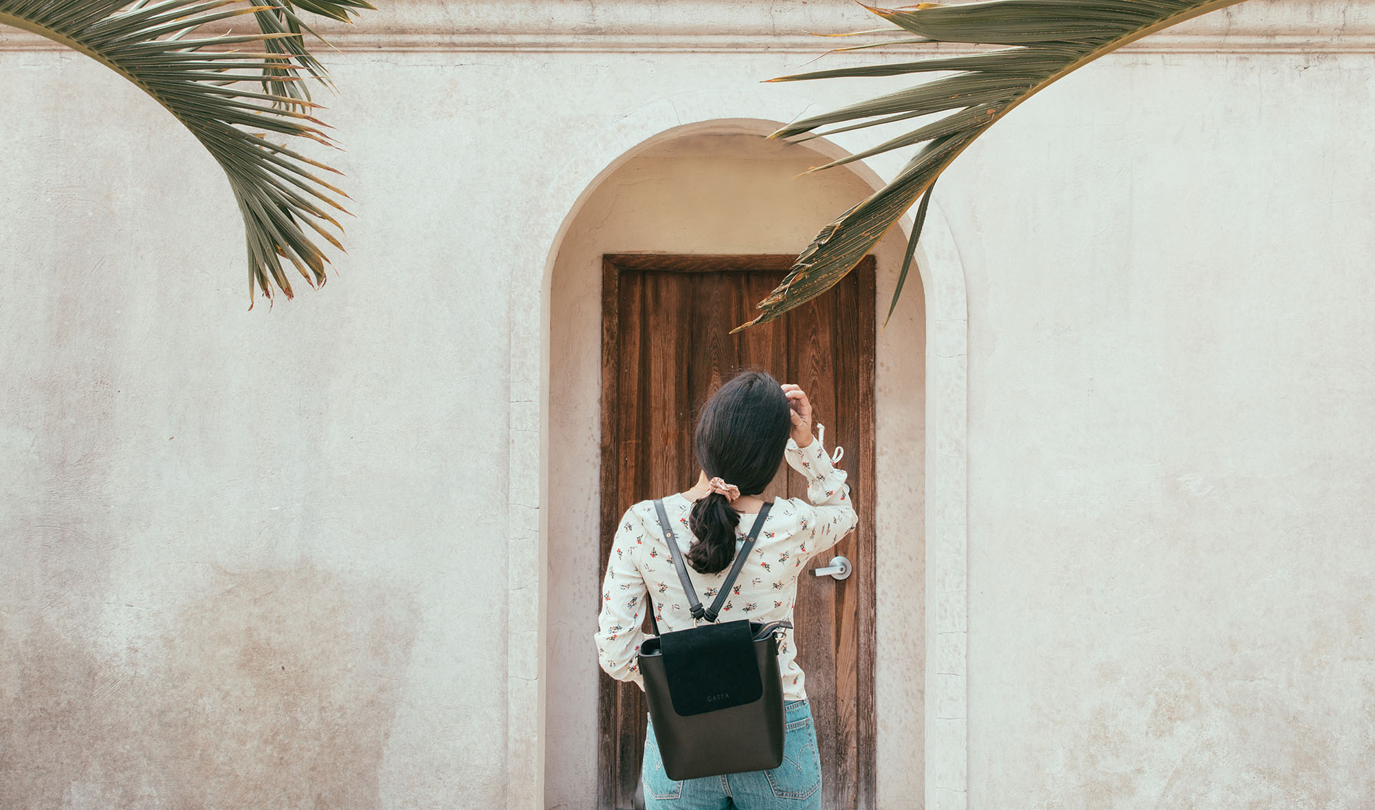 Leather camera backpack for women