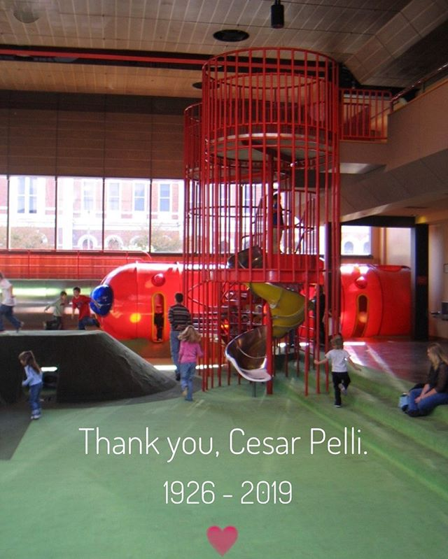 RIP #cesarpelli I was there when The Commons was built. I loved it there. Shopping and lunch upstairs by the Indianapolis Art Museum Shop. The experience reassured my love of #architecture and #design Years later, I would take my children here to play and to the other architectural wonders of #columbusindiana #cesarpelliarchitect  #architectural #architecturallovers