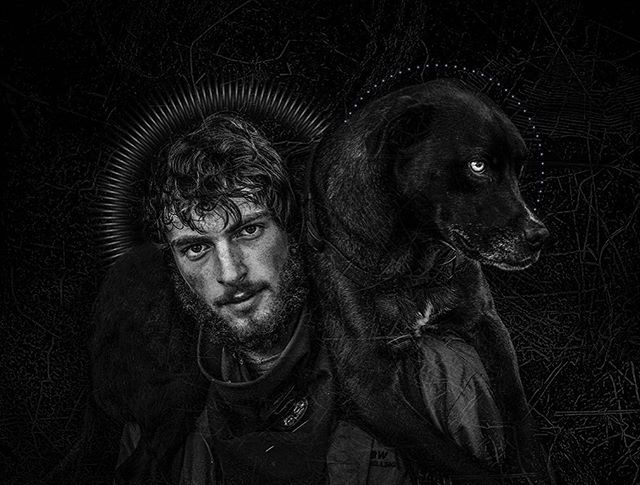 """""""Saint Bucketlist"""" New from the URBAN ICON's series. Intentionally blurring the lines between Saints & Sinners. Joe Photo 2017. There are moments when shooting street portraits that the elements come together in an unexpected way. I asked Bucketlist if we could include his dog in his portrait, and he put him on his shoulders. Boom! On the streets, many of the kids find their animals become their best friends and their protection. I hope you can see the love in this image. Cheers!"""