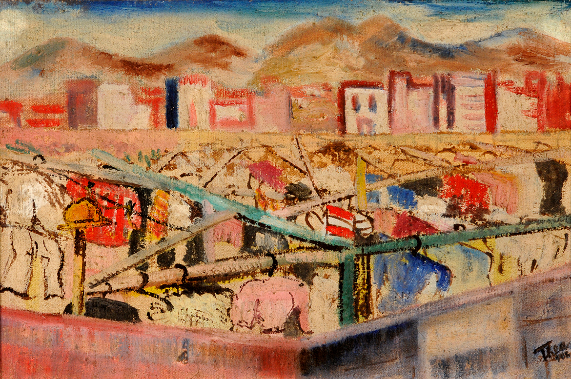8. Thea Haberfeld,  Landscape , c. 1943, Doncaster Museum and Art Gallery.  The Art of Diplomacy - Brazilian Modernism Painted For War , 2018. Embassy of Brazil London