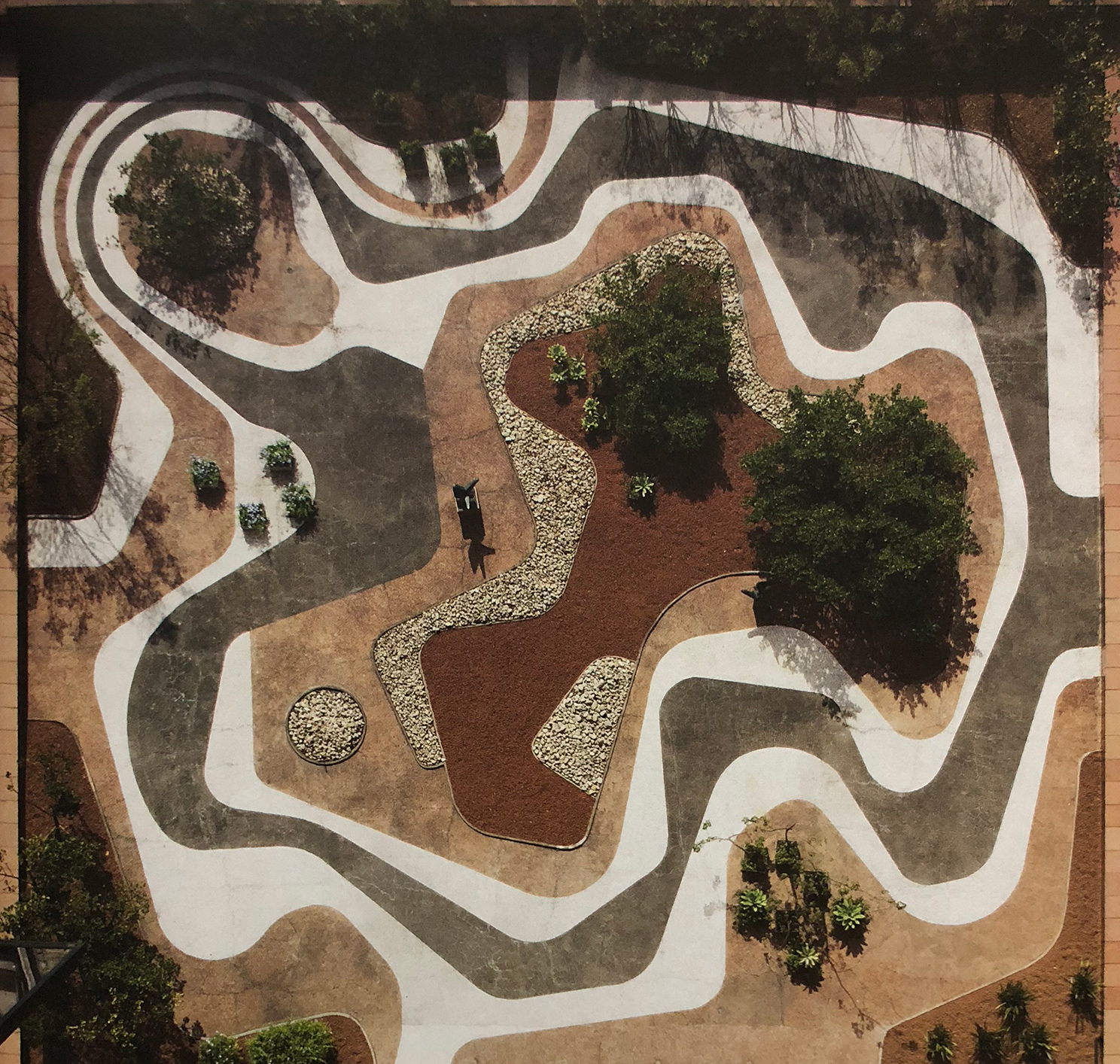 3.  Roberto Burle Marx, Mineral roof garden, Banco Safra Headquarters, 1983, São Paulo.  Roberto Burle Marx - Brazilian Modernist , 2015, The Jewish Museum, New York