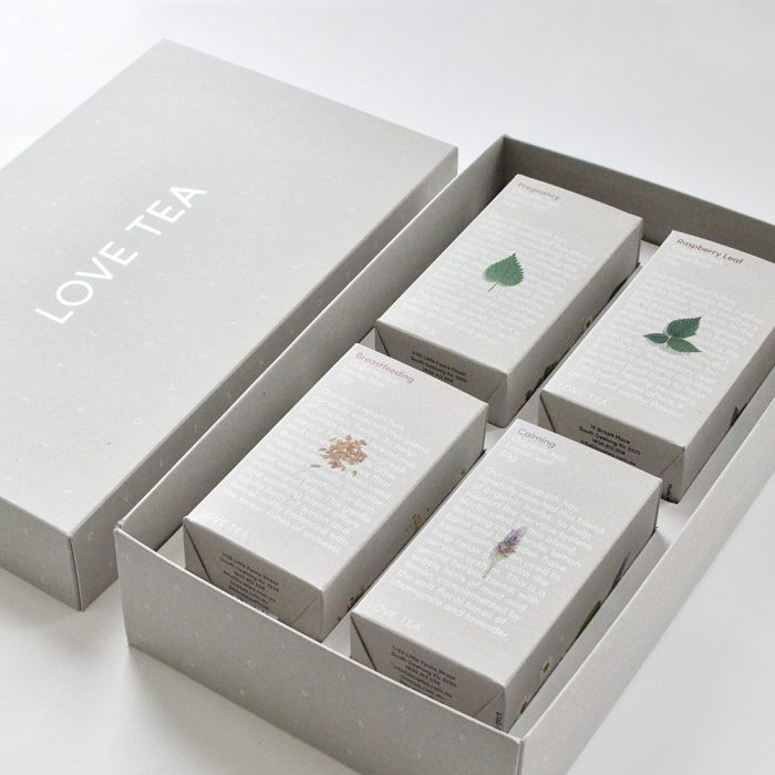 gift boxes - Beautifully designed gift-packs with 4 available variants each designed to cater to a different occasionFour teas displayed carefully inside a premium silver foiled box making a beautifully presented and unique gift.Each Love Tea gift pack comes with a unique band that can slide on and off, with space to write your own note on the back.