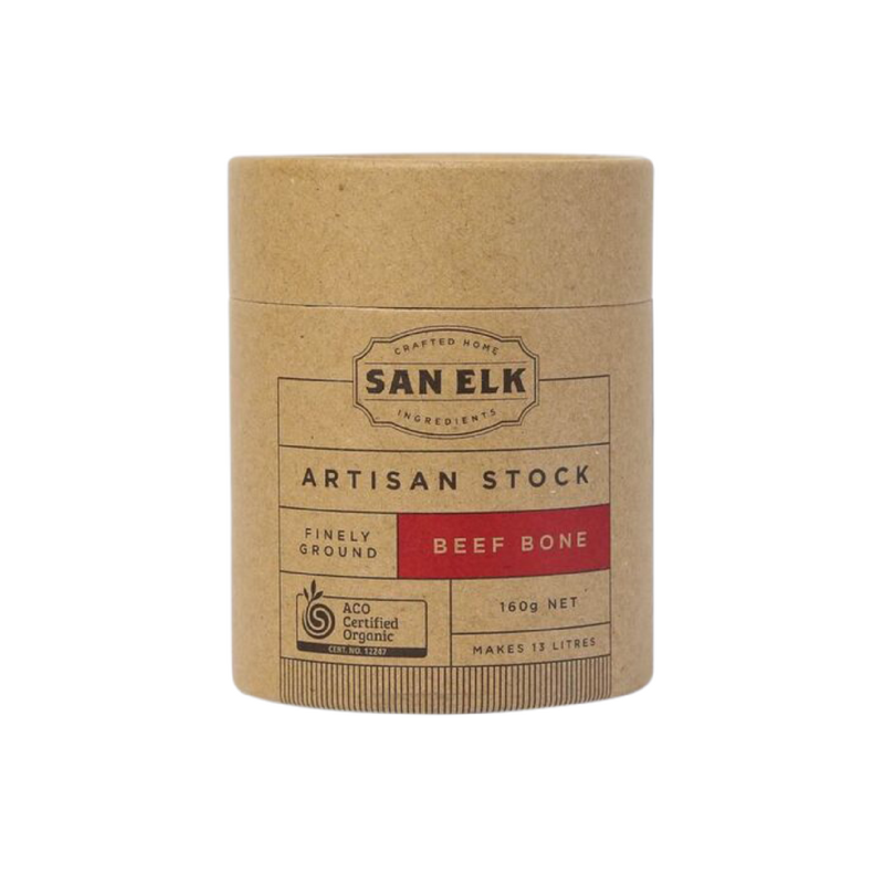 ORGANIC Beef - 160gSan Elk certified organic artisan beef bone stock is made with dehydrated beef bone and finely ground vegetables, herbs and spices to provide a rich and natural flavour when added to your meals. The stock is made from the highest quality raw ingredients available and that all of the essential nutrients are retained.Boiled dehydrated beef bones  are used in the stock which is milder in flavour and also lighter in colour in comparison to regular beef which is darker brown. No colours, preservatives or additives are added in San Elk stocks and the addition of tumeric and mushroom makes their beef bone stock stock lighter in colour.HANDMADE // CERTIFIED ORGANIC // MSG FREE // GLUTEN-FREE // LACTOSE FREE // YEAST FREE // NO MALTODEXTRIN