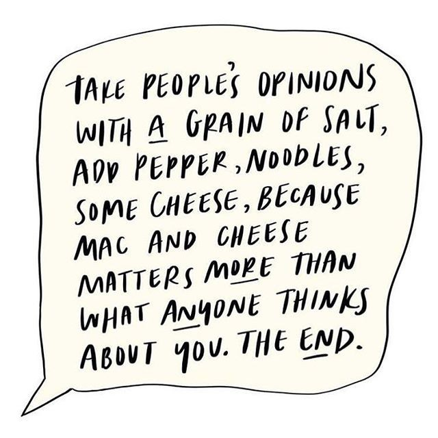 """Other people's opinions of you are none of your business""...�Also mmmmm, mac n cheese! Head to our blog for a delicious vegan version!🧀🧀🧀��#mindfood #healthymindset #veganvibes #macncheez #recipeinspo #cleaneats �#whol"
