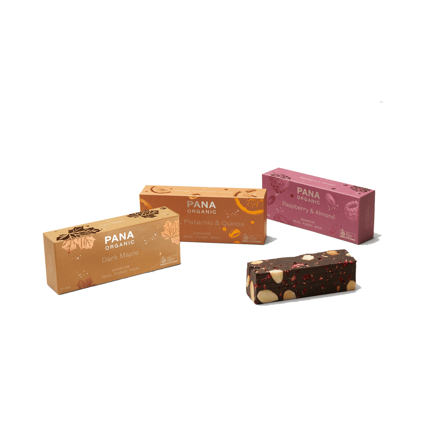 pana ganache - 80g Bars ( Box of 8 ) 3 FlavoursMove over everyone. We've got a treat you want to get your hands on. Perfect for picnics, grazing boards, or a night in with your favourite red.Gluten free, dairy free and super fudgy leaving you wanting more of this wow tasting treat. Go on, we won't judge.DISCOVER OUR NEW FLAVOURS:Orange & Pistachio, Dark Maple, Raspberry & Almond.