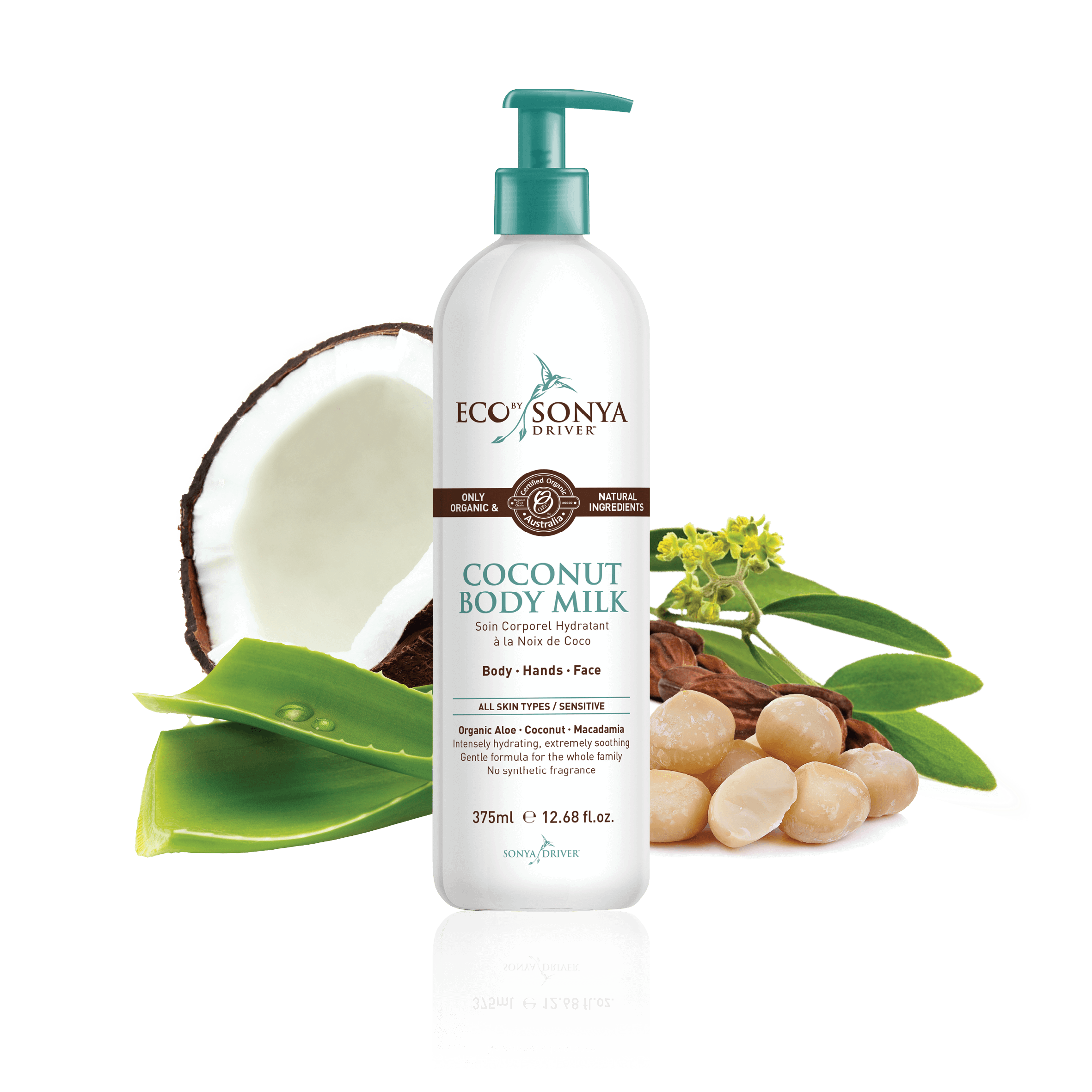coconut body milk - Coconut Body Milk is a rich organic body lotion perfect for body, hands and face.Our Coconut Body Milk provides instant relief to dehydrated skin and promotes the appearance of smooth, healthy and younger looking skin. Certified organic aloe vera soothes the skin, while a luxurious blend of coconut, jojoba and macadamia delivers long lasting nourishment and hydration.275ml