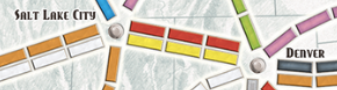 Routes, like these ones through Denver and Salt Lake City, can be individually claimed by players when they place their own colored trains on these routes. Knowing whether a single player has used their own trains to connect two arbitrary cities, no matter how far apart they are,is important in this project.
