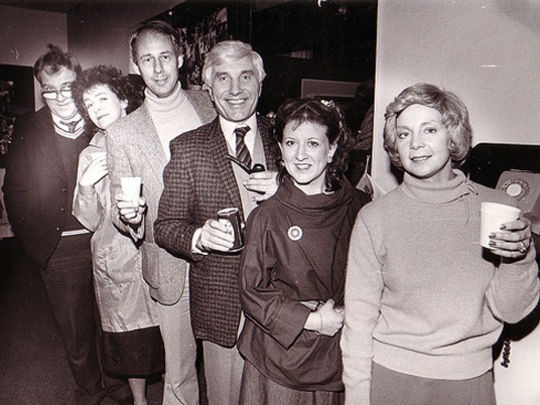Cast and creator sharing a farewell toast to TV comedy  Gliding On . From left, Michael Haigh (Jim), Jane Waddell (Irene),  Gliding On  creator Roger Hall, Ray Henwood (Hugh), Katy Platt (Raewyn) and Susan Wilson (Beryl).  Image supplied by TVNZ.